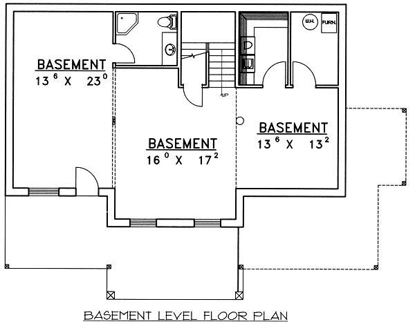 Bungalow Floor Plan - Lower Floor Plan Plan #117-525