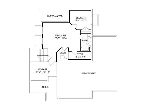 House Plan Design - Traditional Floor Plan - Lower Floor Plan #920-92