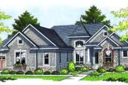 European Style House Plan - 4 Beds 3.5 Baths 3909 Sq/Ft Plan #70-677 Exterior - Front Elevation