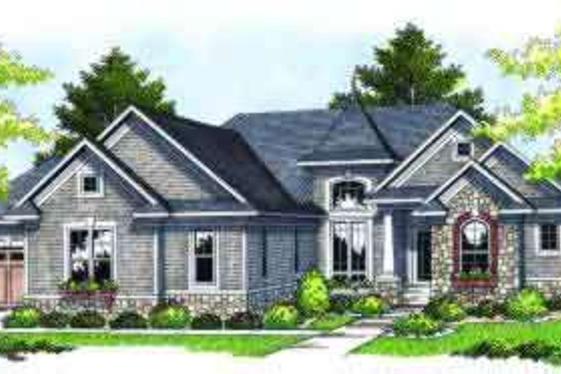 European Exterior - Front Elevation Plan #70-677