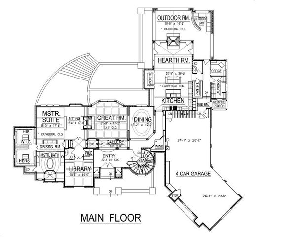 European Floor Plan - Main Floor Plan Plan #458-2