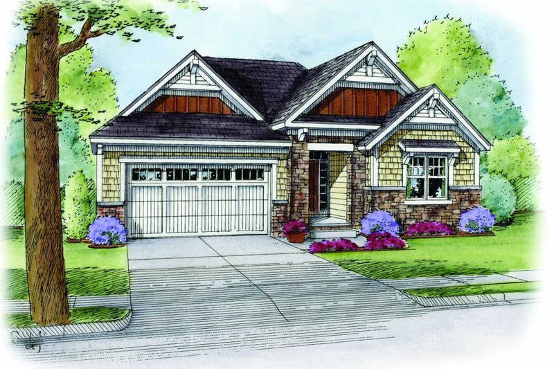 Cottage Exterior - Front Elevation Plan #20-2187