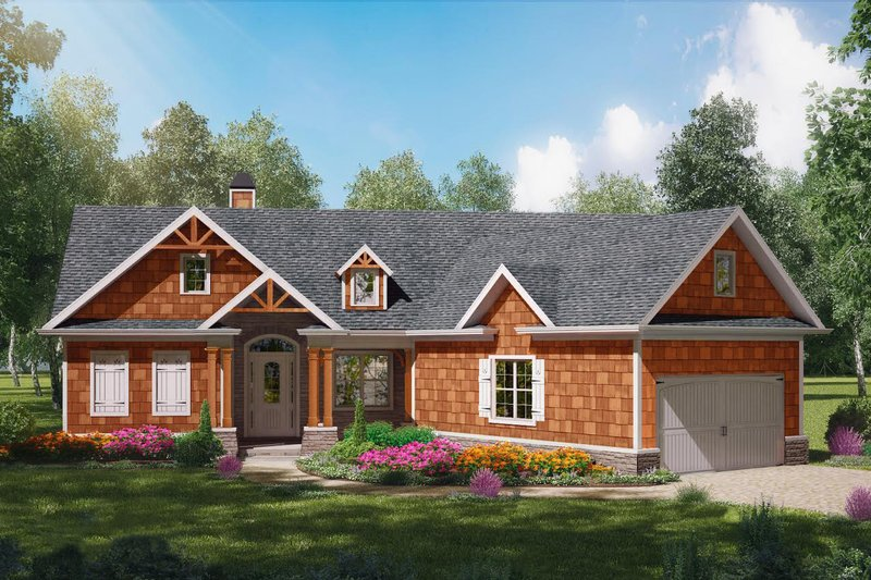 Craftsman Style House Plan - 3 Beds 2 Baths 1338 Sq/Ft Plan #54-401