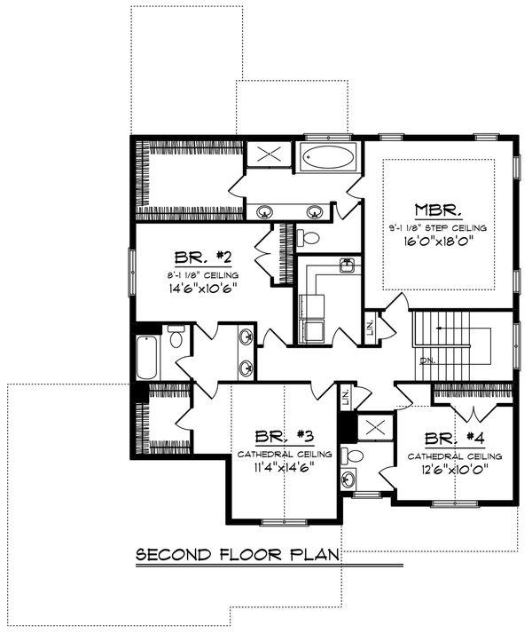 Craftsman Floor Plan - Upper Floor Plan Plan #70-1231