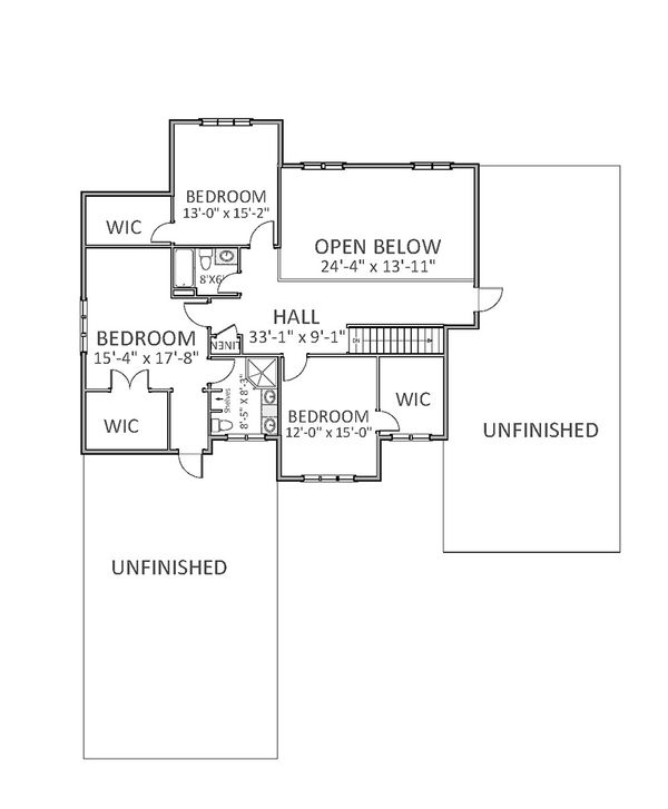Farmhouse Floor Plan - Upper Floor Plan Plan #898-34