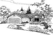 Ranch Style House Plan - 3 Beds 2 Baths 1385 Sq/Ft Plan #60-615 Exterior - Front Elevation