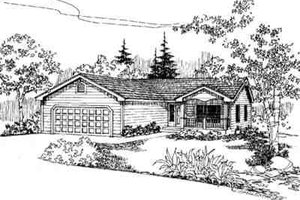 Ranch Exterior - Front Elevation Plan #60-615