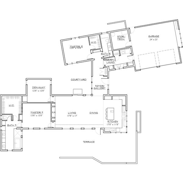 Modern Floor Plan - Main Floor Plan Plan #892-8