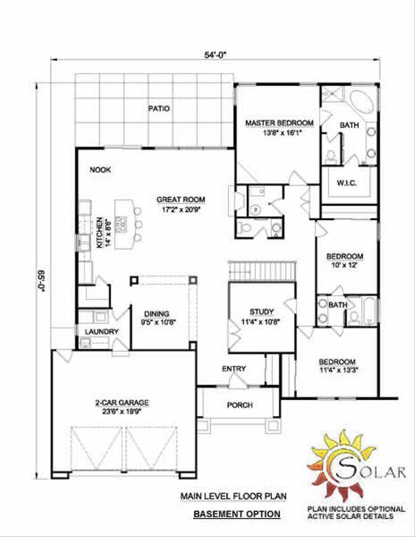 Adobe / Southwestern Floor Plan - Lower Floor Plan #116-296