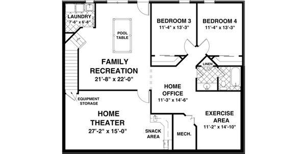Country Floor Plan - Lower Floor Plan Plan #56-643