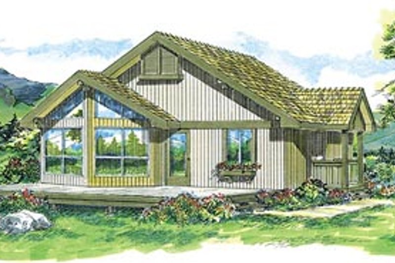 Modern Style House Plan - 2 Beds 1 Baths 825 Sq/Ft Plan #47-308 Exterior - Front Elevation
