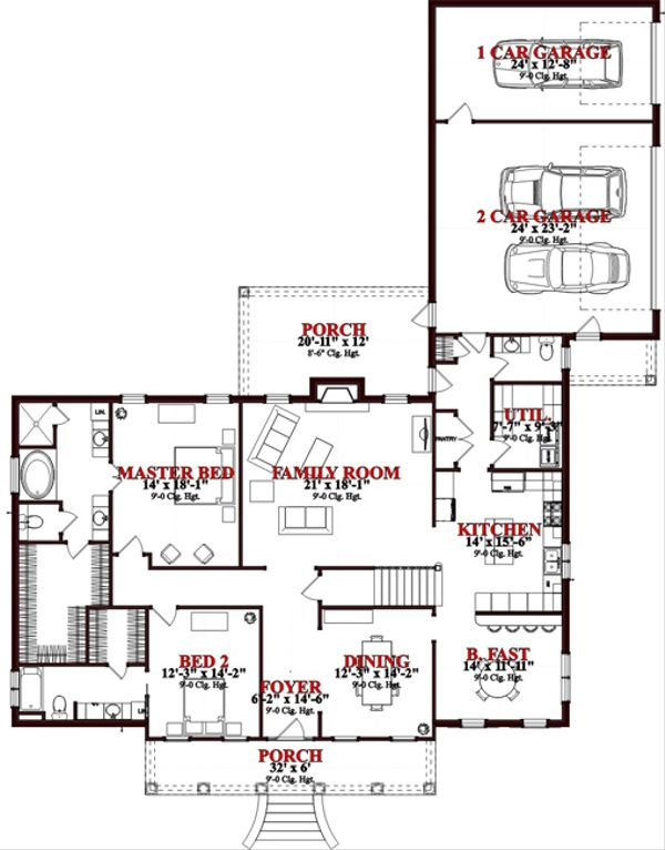 Colonial Floor Plan - Main Floor Plan Plan #63-265