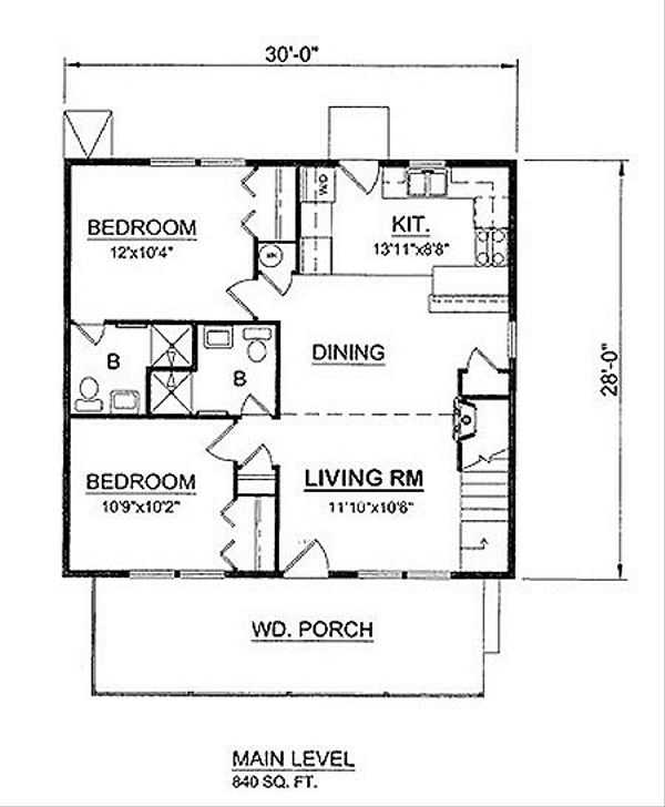 Cottage Floor Plan - Main Floor Plan Plan #116-220
