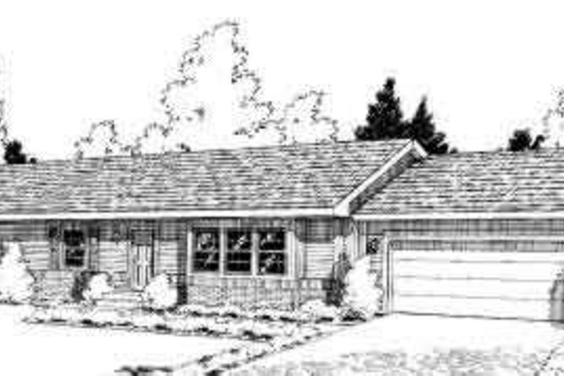 Ranch Style House Plan - 3 Beds 2 Baths 1315 Sq/Ft Plan #312-351 Exterior - Front Elevation