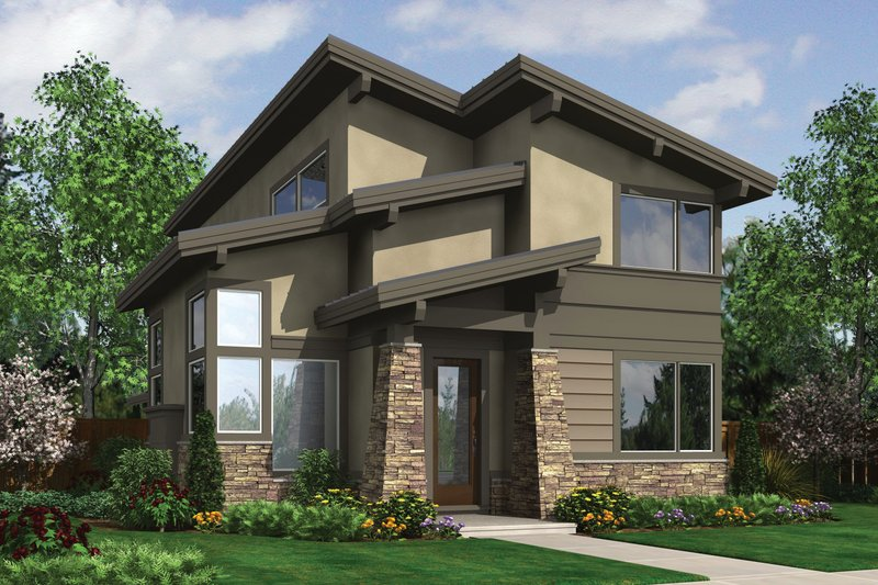 Modern Exterior - Front Elevation Plan #48-574