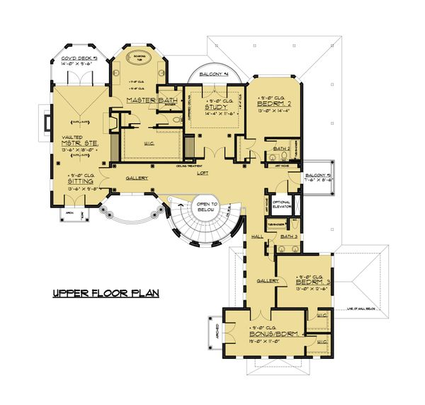 Victorian Floor Plan - Upper Floor Plan Plan #1066-55