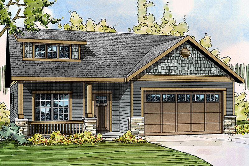 Craftsman Style House Plan - 3 Beds 2.5 Baths 2051 Sq/Ft Plan #124-890 Exterior - Front Elevation