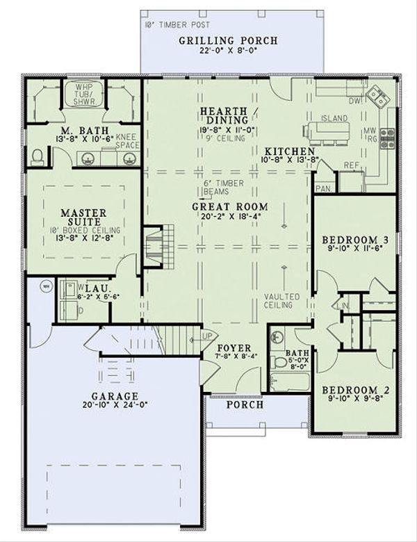 Home Plan Design - European Floor Plan - Main Floor Plan #17-2453
