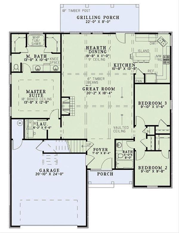Architectural House Design - European Floor Plan - Main Floor Plan #17-2453