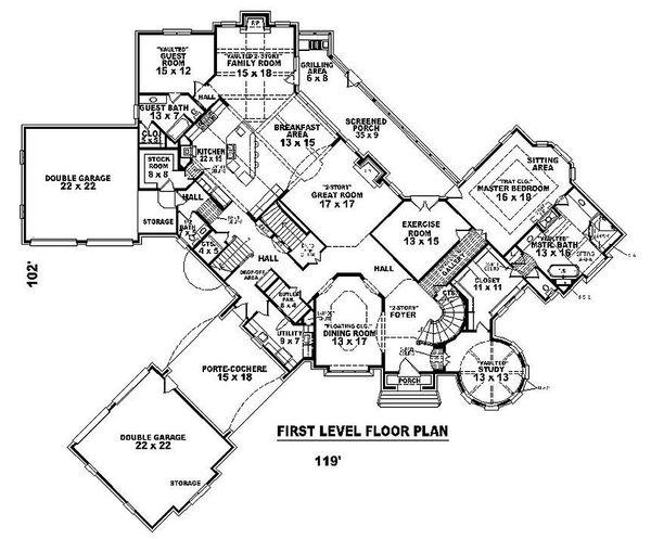Main level floor plan - 8200 square foot European Home