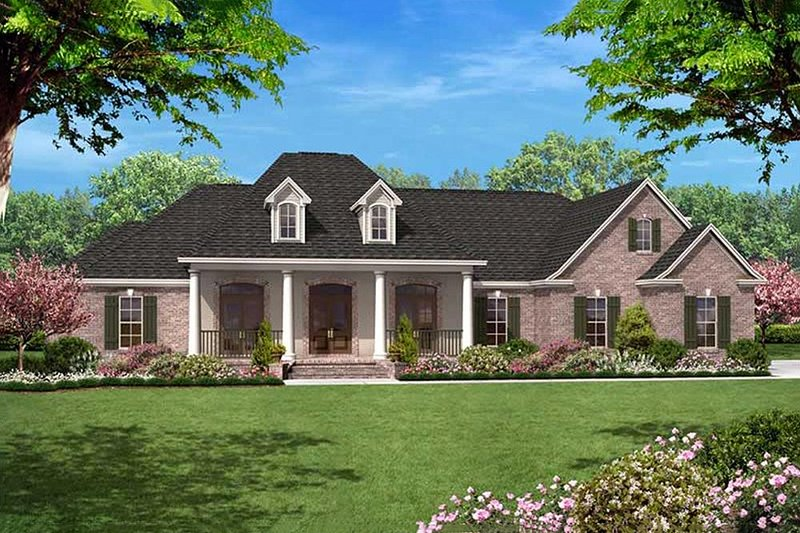Country Style House Plan - 4 Beds 3.5 Baths 2500 Sq/Ft Plan #430-34 Exterior - Front Elevation