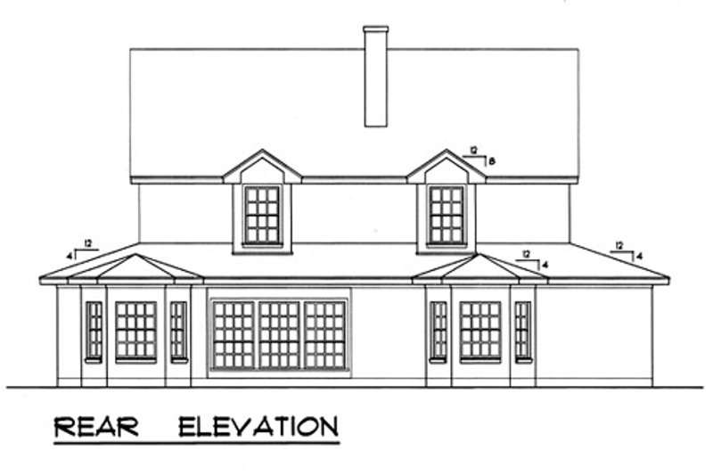 Country Exterior - Rear Elevation Plan #40-438 - Houseplans.com