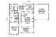 Farmhouse Style House Plan - 3 Beds 2.5 Baths 1597 Sq/Ft Plan #513-2075 Floor Plan - Main Floor Plan