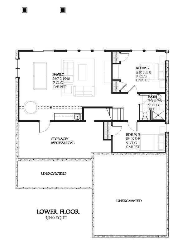 Farmhouse Floor Plan - Lower Floor Plan #901-88