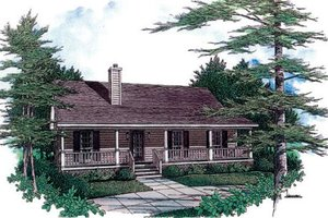 Cabin Exterior - Front Elevation Plan #14-140