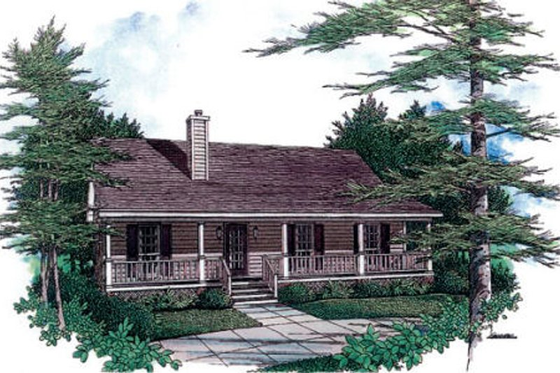 Cabin Exterior - Front Elevation Plan #14-140