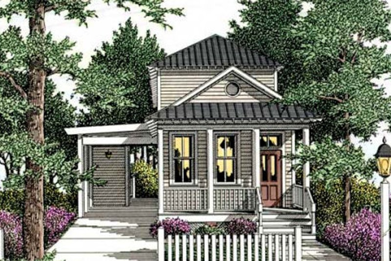 Cottage Style House Plan - 3 Beds 2.5 Baths 1587 Sq/Ft Plan #406-258 Exterior - Front Elevation