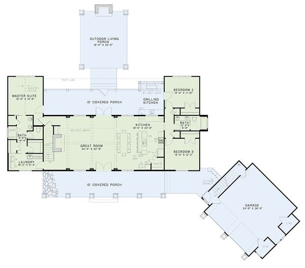 Craftsman Floor Plan - Main Floor Plan Plan #17-2480
