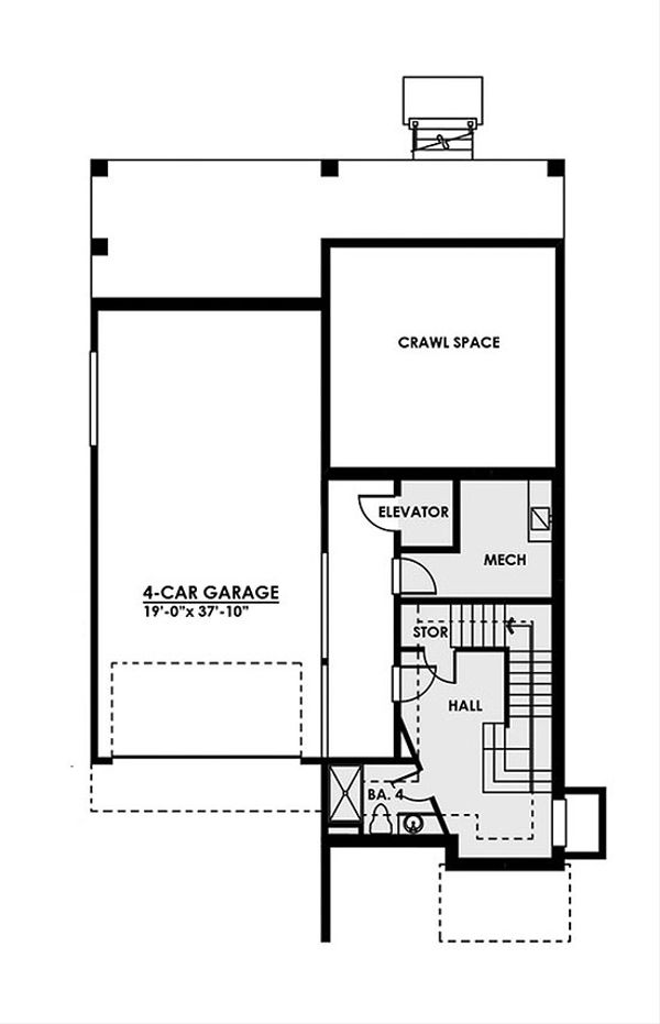 Contemporary Floor Plan - Lower Floor Plan Plan #1066-35