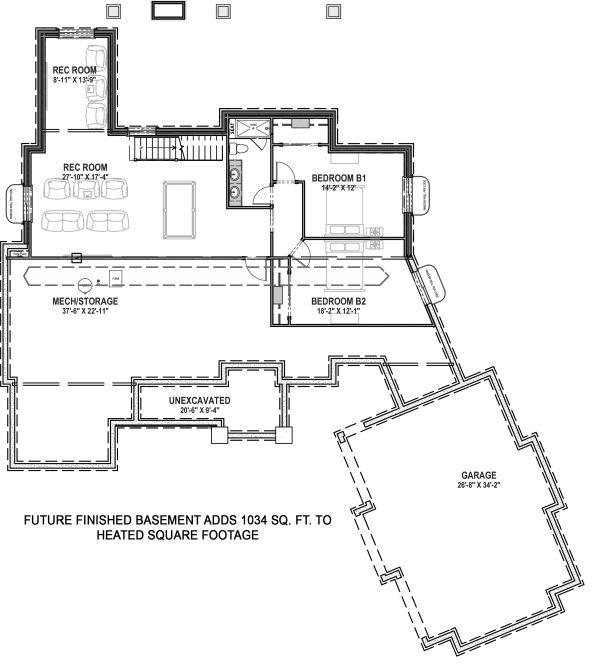 Architectural House Design - Farmhouse Floor Plan - Lower Floor Plan #1069-21