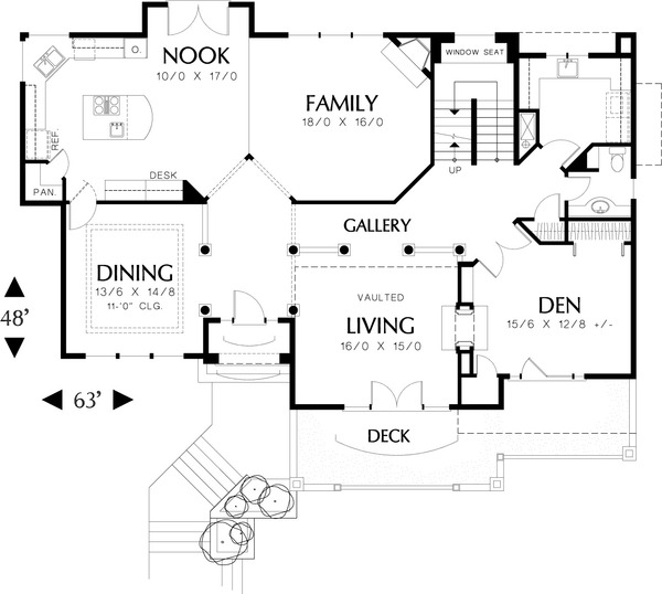 Mediterranean house plan, main level floor plan