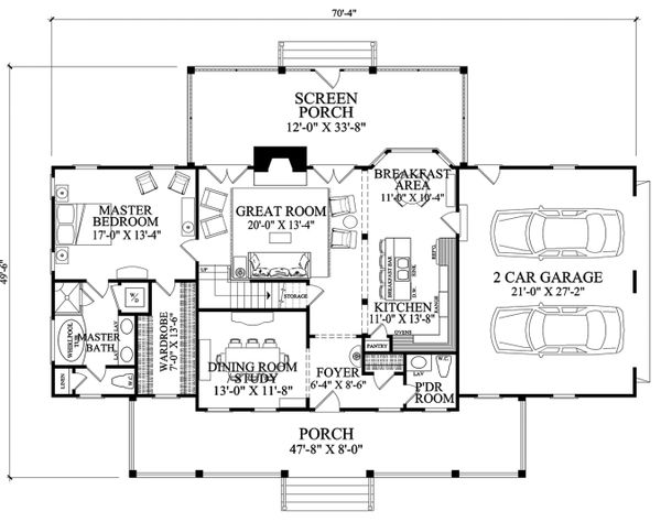 Southern Floor Plan - Main Floor Plan Plan #137-277