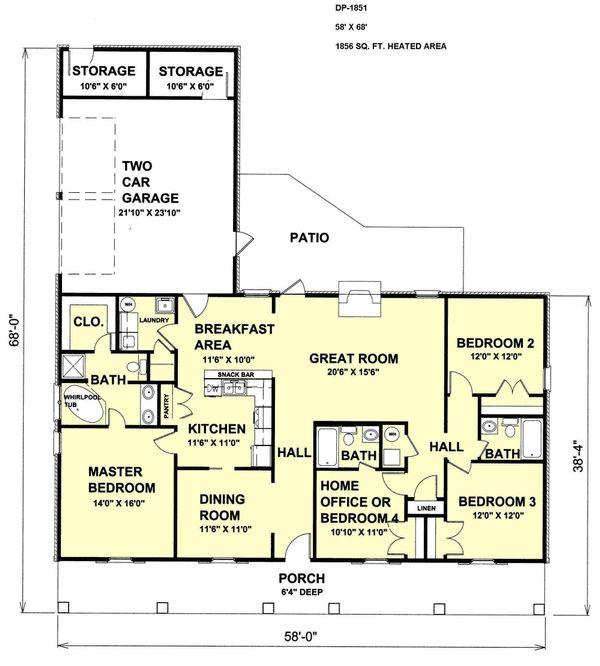 Country Floor Plan - Main Floor Plan Plan #44-115
