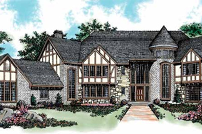 Tudor Style House Plan - 5 Beds 7 Baths 7275 Sq/Ft Plan #72-198 Exterior - Front Elevation