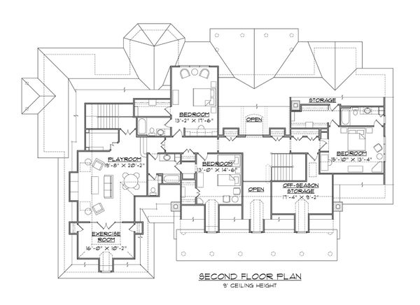 Architectural House Design - Country Floor Plan - Upper Floor Plan #1054-85