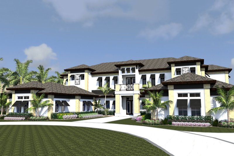 Contemporary Style House Plan - 4 Beds 5 Baths 11159 Sq/Ft Plan #548-26 Exterior - Front Elevation