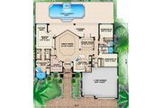 Mediterranean Style House Plan - 3 Beds 3 Baths 2660 Sq/Ft Plan #27-438 Floor Plan - Main Floor