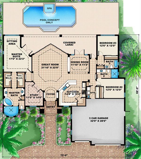 Mediterranean Floor Plan - Main Floor Plan Plan #27-438