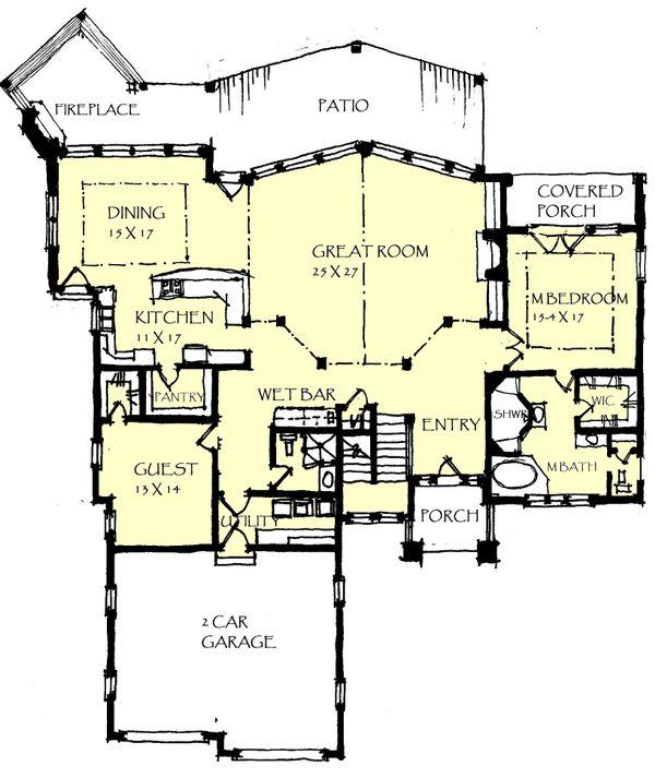 Craftsman Floor Plan - Main Floor Plan Plan #921-24