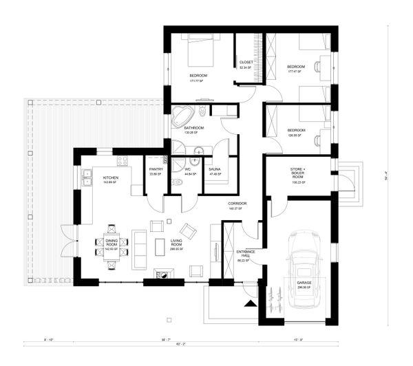 Ranch Floor Plan - Main Floor Plan #906-23