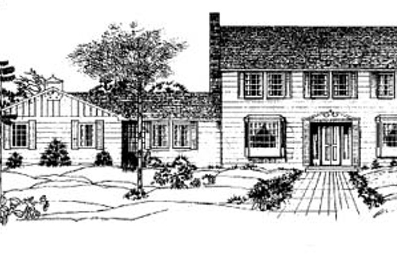 Colonial Style House Plan - 4 Beds 3 Baths 2278 Sq/Ft Plan #60-107 Exterior - Front Elevation