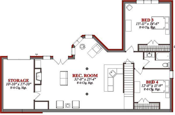 Country Floor Plan - Lower Floor Plan Plan #63-190