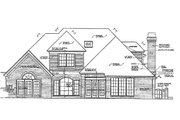 European Style House Plan - 4 Beds 3.5 Baths 2699 Sq/Ft Plan #310-859 Exterior - Rear Elevation