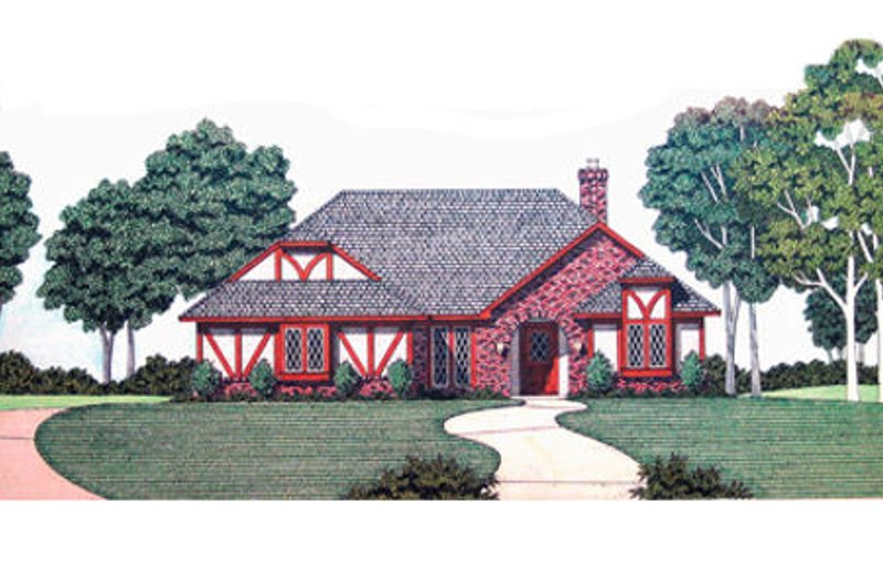 European Style House Plan - 3 Beds 2 Baths 1946 Sq/Ft Plan #45-340 Exterior - Front Elevation