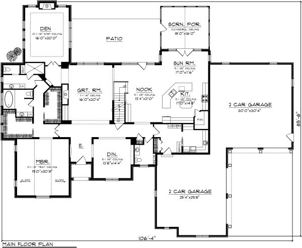 European Floor Plan - Main Floor Plan Plan #70-1151