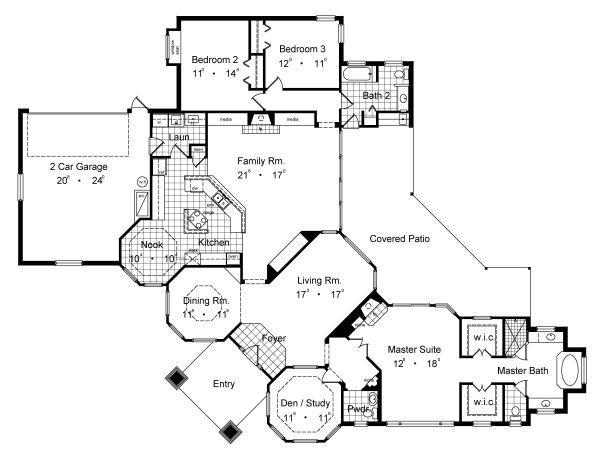 European Floor Plan - Main Floor Plan Plan #417-304